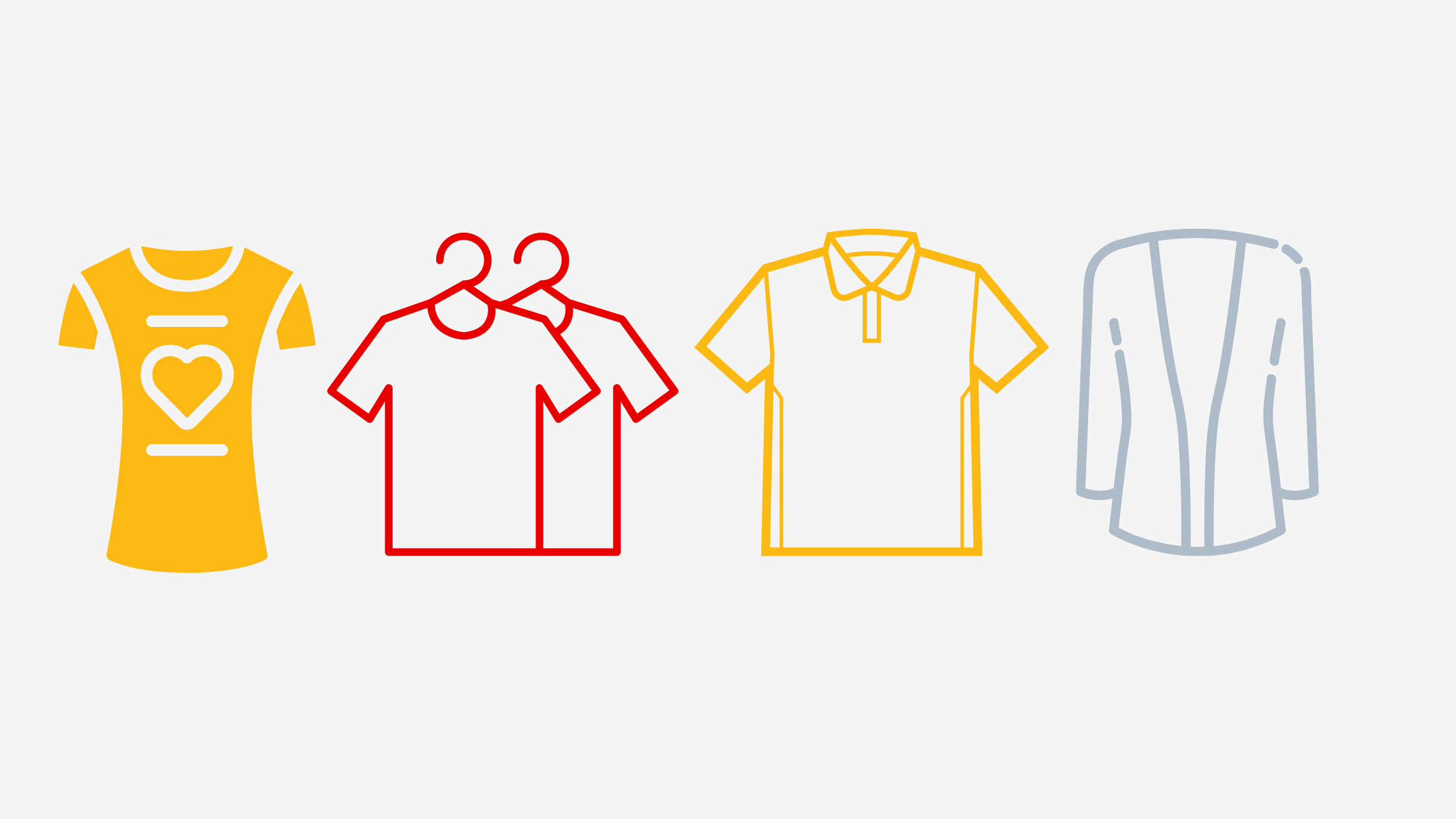 Graphics of four shirts