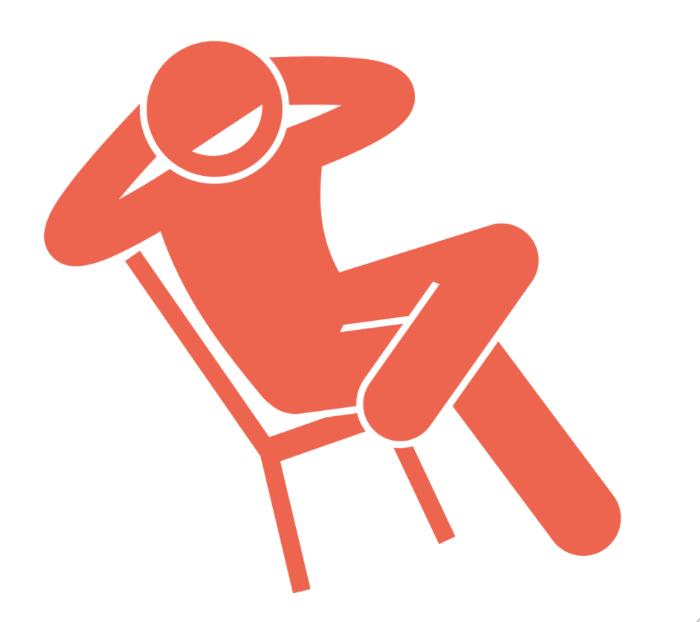 Graphic image of person in chair looking lazy