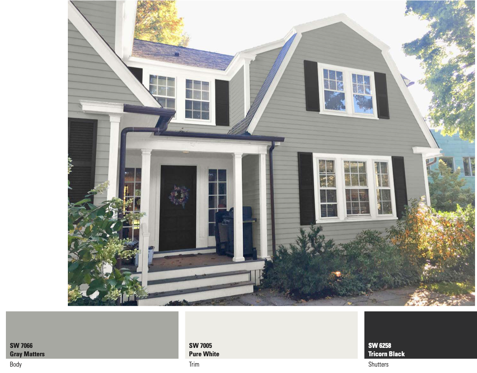 Gray home with black shutters computer rendering