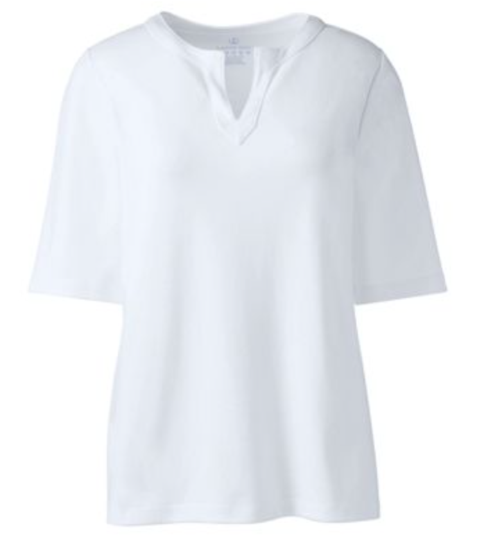 White Lands End Shirt with keyhole