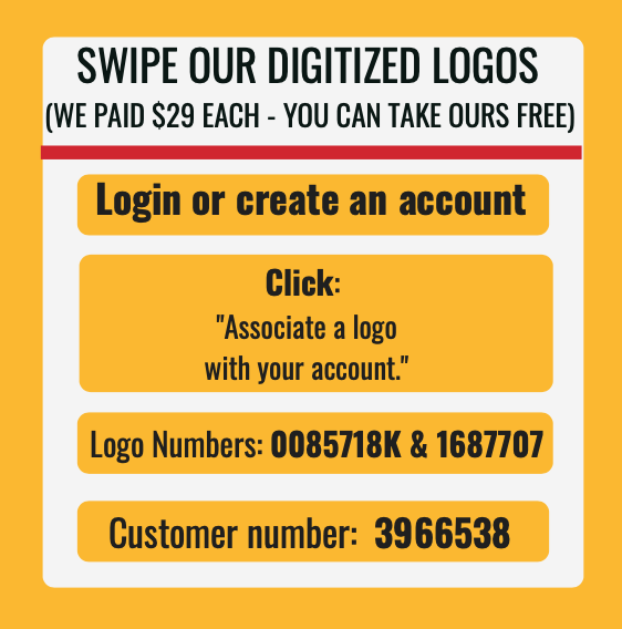 Graphic instructions on how to use our digitized logo with gold background