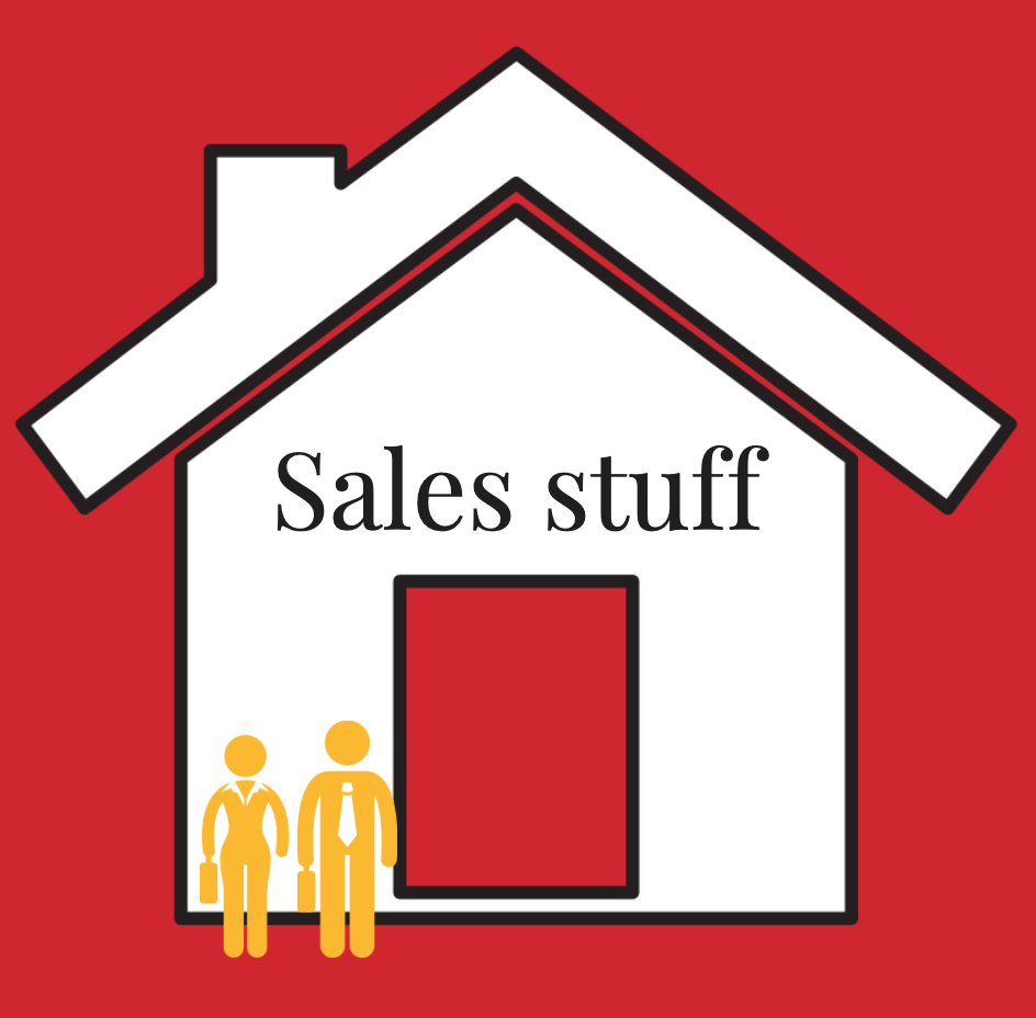 Graphic of two salespeople in front of home