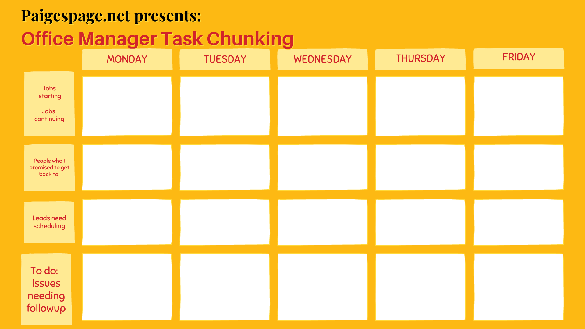 Office Manager weekly task calendar Monday-Friday
