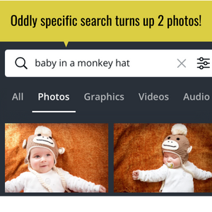 """Infographic showing the search page of Canva with the search of """"baby in a monkey hat"""" and two babies that meet that search criteria."""