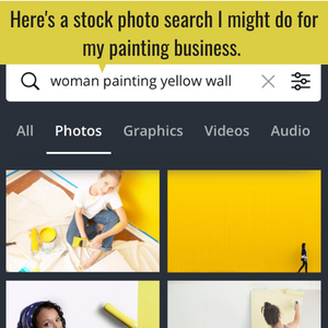 """Infographic showing the seach of """"woman painting yellow wall"""" and 4 photos that meet that search criteria."""
