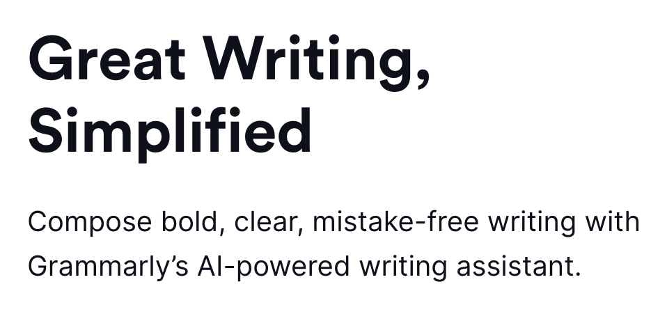 """Infographic from Grammarly website that says """"Great Writing Simplified"""""""