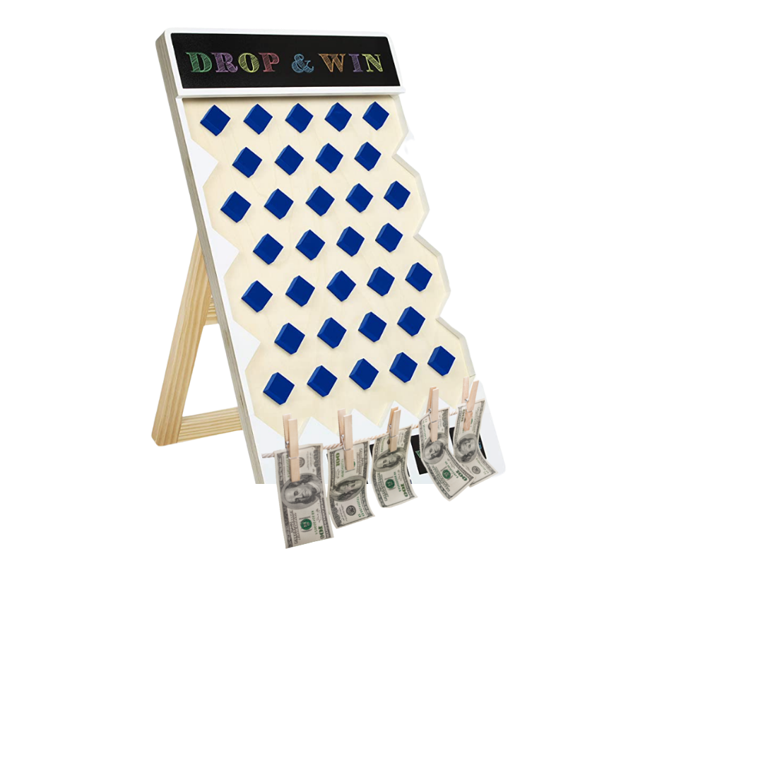 Plinko game with money on clothes pins on the bottom