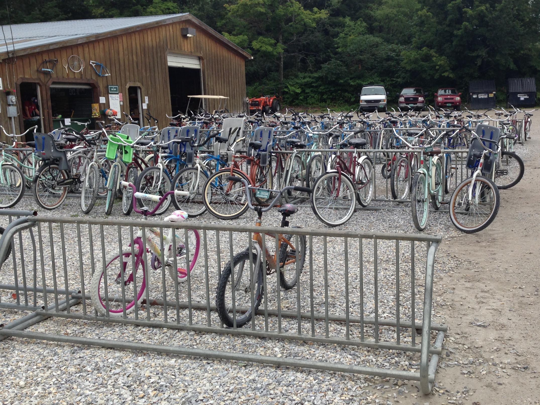 Dozens of colorful bikes on bike racks at Tyler Place